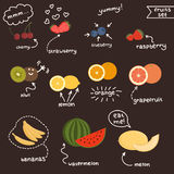 Fresh juicy fruits set Royalty Free Stock Photos