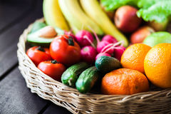 Fresh juicy  fruits and vagetable in a basket Royalty Free Stock Photography