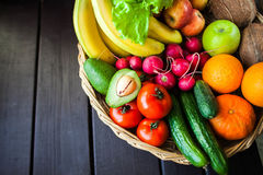 Fresh juicy  fruits and vagetable in a basket Royalty Free Stock Photo