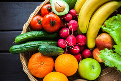 Fresh juicy  fruits and vagetable in a basket Royalty Free Stock Images