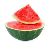 Fresh, juicy, healthy watermelon isolated on a white background. Ingredients for fruit salads. A half of a watermelon. Stock Image