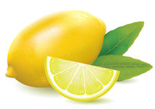 Fresh juicy lemon. Illustration of a fresh juicy lemon with slice and leaves Royalty Free Stock Photos