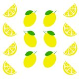 Fresh and juicy lemon with green leaf on white background. Vector illustration.  royalty free illustration