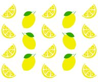 Fresh and juicy lemon with green leaf on white background. Vector illustration.  stock illustration