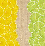 Fresh juicy lemon and lime slices on canvas burlap Stock Photography