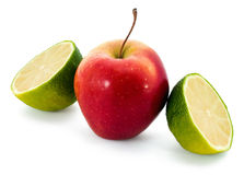 Fresh juicy lime and red apple Royalty Free Stock Images