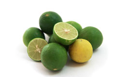 Fresh juicy limes, isolated on white background.  Stock Images