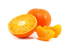 Fresh juicy mandarin. Isolated on white background Royalty Free Stock Images