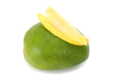 Fresh juicy Mango fruit and two slices. Isolated on white background Royalty Free Stock Photo