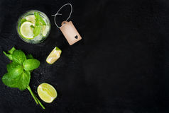 Fresh juicy mojito in glasse on a dark stone background Stock Image