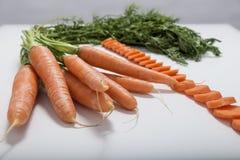 Fresh juicy orange carrot. On the table Stock Photo