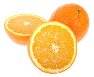 Fresh juicy oranges. Fresh oranges. One cut on half. Isolated on white background stock photos