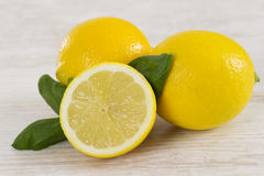 Fresh juicy oranges with leaves Royalty Free Stock Images