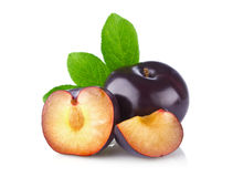 Fresh juicy organic plum with green leaf Stock Photography