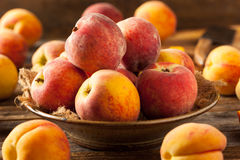 Fresh Juicy Organic Yellow Peaches Royalty Free Stock Photography