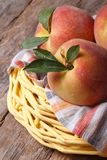 Fresh juicy peaches in a basket on the table closeup Stock Photography