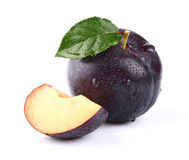 Fresh juicy plum with slice Stock Image