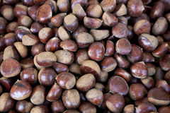 Fresh juicy raw chestnuts. Gourmet appetizer French street food. Photo for the background of a cafe, diner on wheels. Stock Photo