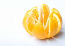 Fresh juicy ripe orange cut to slices. Fresh juicy ripe orange fruit cut to slices royalty free stock photo