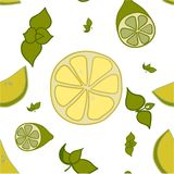Pattern of lemon, lime and mint leaves Stock Photography