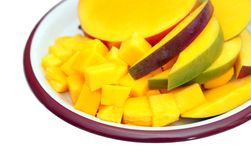 Fresh and juicy slice of mango Royalty Free Stock Photo