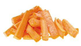 Fresh juicy slices of carrot isolated on white Stock Photos