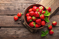 Fresh juicy strawberries with leaves. Strawberry. Royalty Free Stock Image