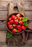 Fresh juicy strawberries with leaves. Strawberry. Stock Image
