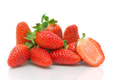 Fresh juicy strawberries  on white background Stock Photos