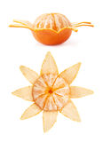 Fresh juicy tangerines fruits isolated over the white background. Fresh juicy tangerines fruits partly peeled cleaned isolated over the white background Stock Photos