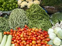 Fresh juicy vegetables on the counter in India Goa Stock Image