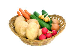 Fresh juicy vegetables. In a wicker basket Royalty Free Stock Photography