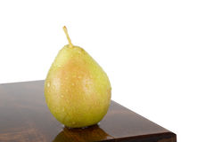 Fresh juicy water-sprinkled pears on white background Stock Photo