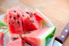 Fresh and juicy watermelon on the plate. Ripe watermelon to the delight of children Stock Photography