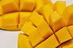 Fresh juicy yellow Thai chopped mango on the table. Fresh juicy yellow Thai chopped mango on the white plate royalty free stock photography