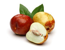 Fresh jujubes and leaves Stock Images