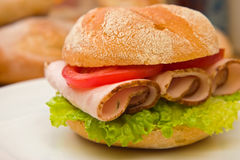 Fresh kaiser bun with turkey breast slices Stock Image