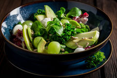 Fresh kale salad with avocado, lettuce and grape Stock Image