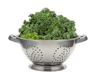 Fresh Kale in a Stainless Steel Colander Royalty Free Stock Image
