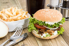 Fresh Kebab Burger on wood Royalty Free Stock Photos