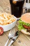 Fresh Kebab Burger on wood Stock Images