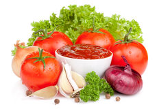 Fresh ketchup and a set of vegetables Stock Photography