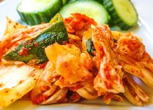 Fresh kimchi salad. Korean fermented cabbage Stock Photography