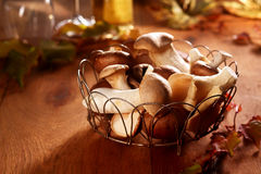 Fresh King Oyster mushrooms in a country kitchen. Fresh King Oyster mushrooms, Pleurotus eryngii, in a country kitchen displayed in an open wire basket for use Stock Images