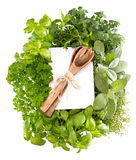 Fresh kitchen herbs and decoration Royalty Free Stock Photos