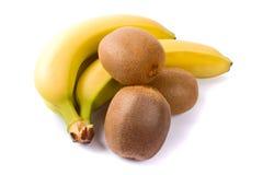 Fresh kiwi and banana. Some fresh kiwi and banana on white background stock image