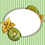 Fresh kiwi and carambola in a watercolor style. Aquarelle fruit background illustration. Frame border ornament square. Fresh kiwi and carambola in a watercolor stock illustration