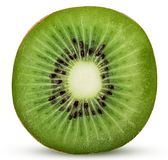 Fresh kiwi fruit cut in half. Isolated on white background. Clipping Path. Full depth of field stock images