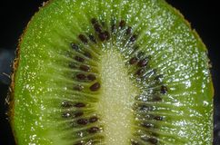 Fresh Kiwi Fruit detail. Fresh kiwi macro shot detailed shot, can be used as background Royalty Free Stock Photography