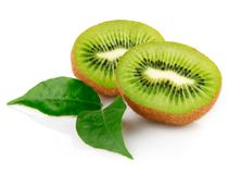 Fresh kiwi fruit with green leaves Royalty Free Stock Photo